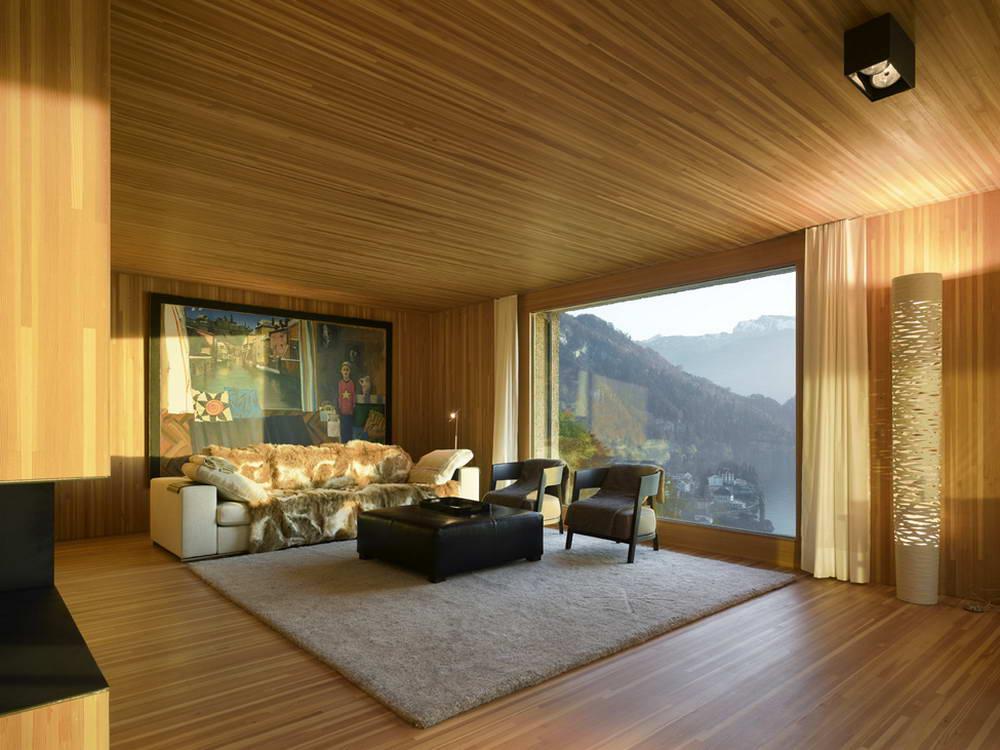 Дизайн дома внутри деревом