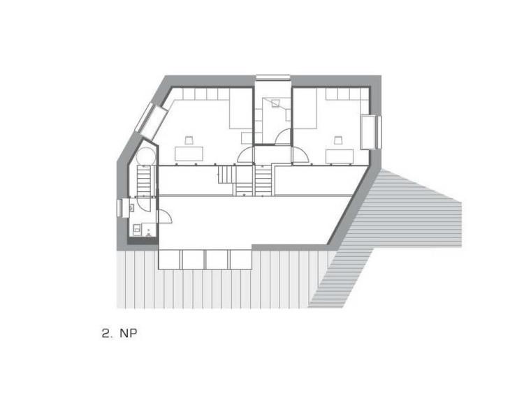 Дом в Словакии, архитекторы Oximoron. План второго этажа © Oximoron